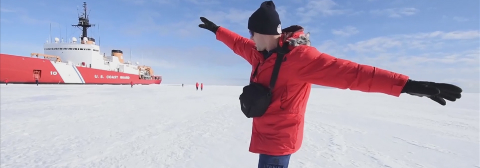 ADAC thumbnail showing researcher gesturing while standing on ice