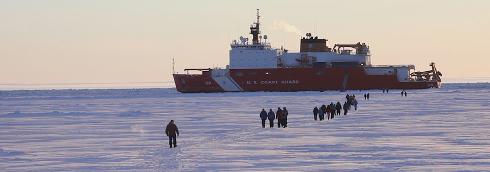 ADAC thumbnail showing people walking towards U.S. Coast Guard ship in ice