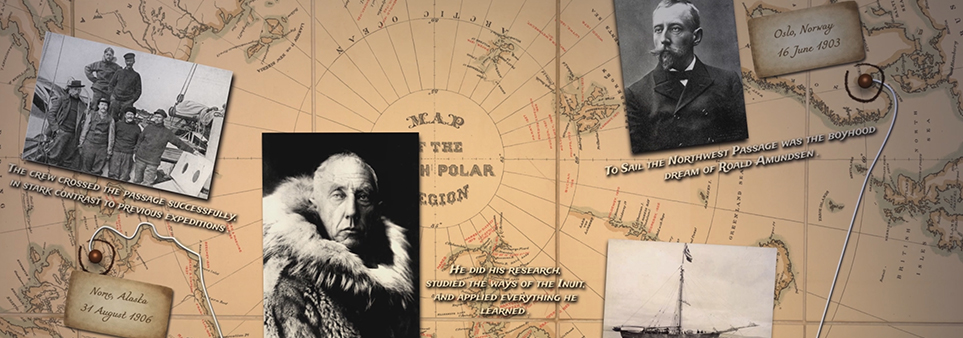 ADAC Thumbnail showing Roald Amundsen and ship superimposed upon map of the Arctic