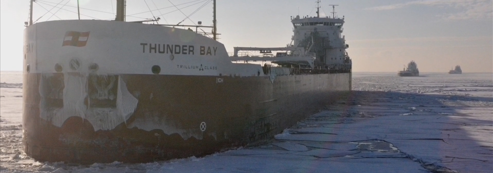 ADAC thumbnail showing cargo ship transiting through ice