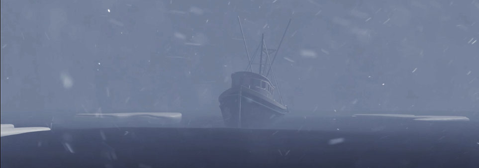 ADAC thumbnail displaying graphic of ship in snowy weather