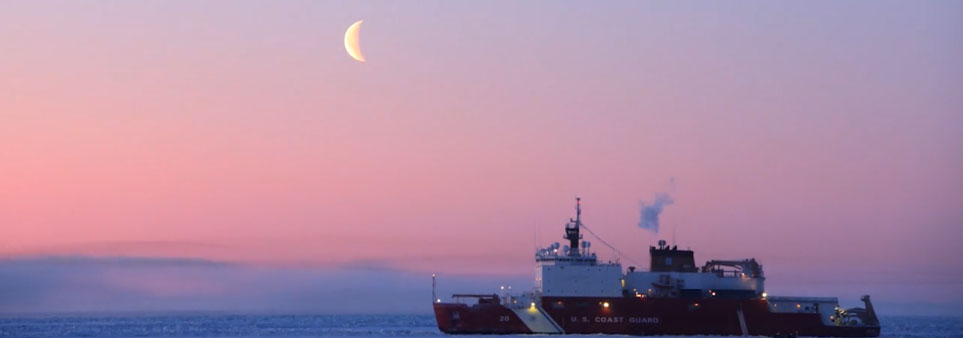 ADAC thumbnail showing U.S. Coast Guard ship in ice against setting sun