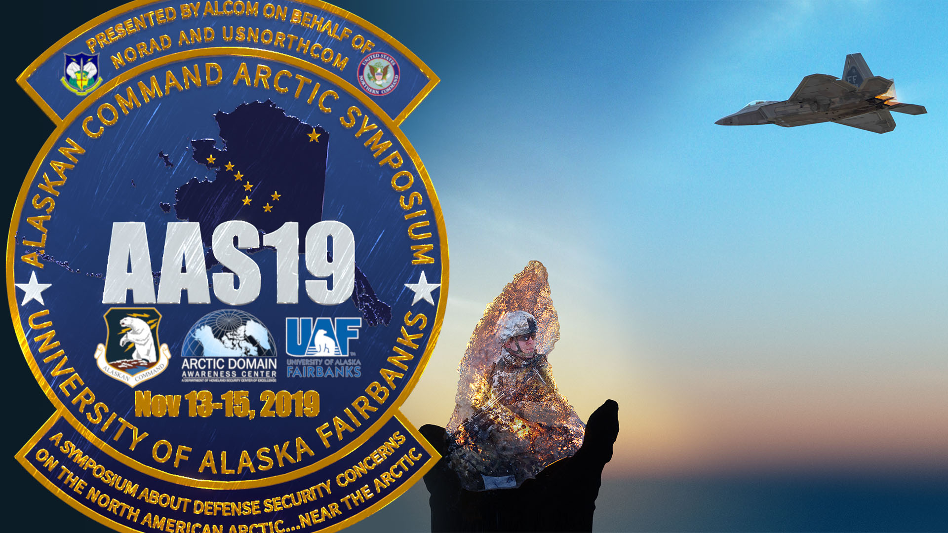 ADAC thumbnail showing AAS19 badge with soldier illuminated in ice and jet juxtaposed against rising sun